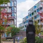 Statue between Ceres apartments in Mill Park CB1