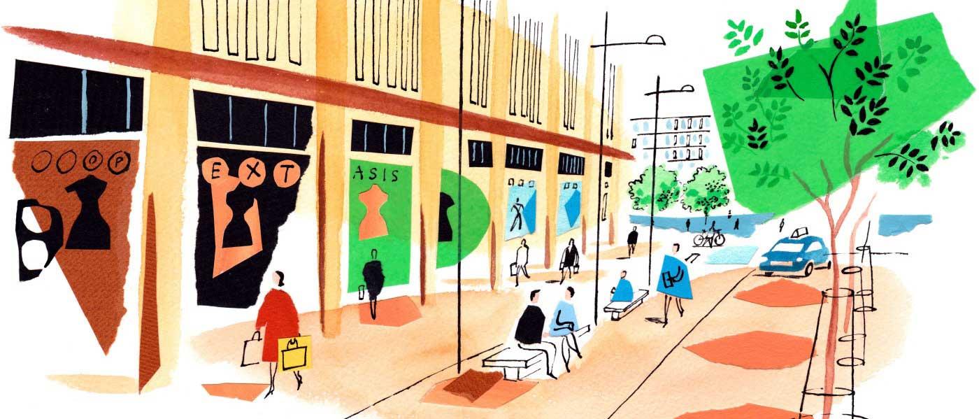 CB1 shops Station Square illustration