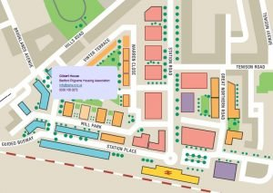 Image of the CB1 interactive map showing buildings and area