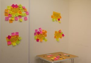 Post-its with ideas on a wall