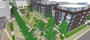 Alternative CGI aerial view of new Mill Park