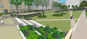 CGI showing raised steel planters in Mill Park, CB1 Cambridge