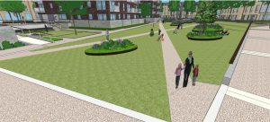 CGI view of central lawn of Mill Park, CB1