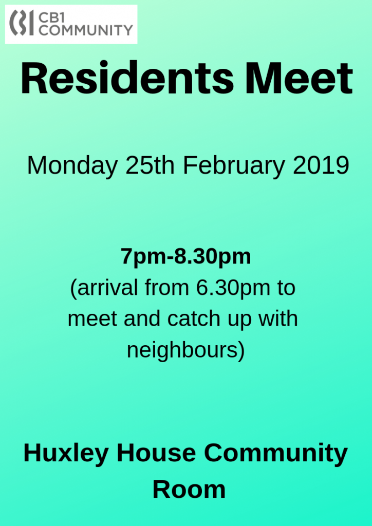 Next Residents meet - 25th February